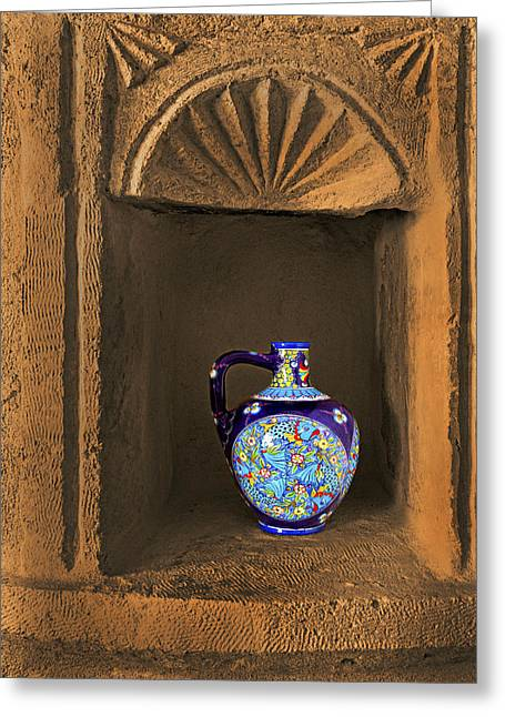 Decorative Carafe In An Alcove Greeting Card by Kantilal Patel