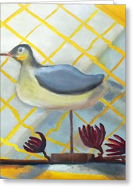 Decoy On A Stand Greeting Card by Margaret Harmon