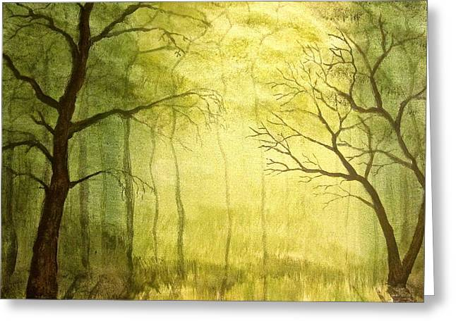 Deep Woods Greeting Card by Heather Matthews