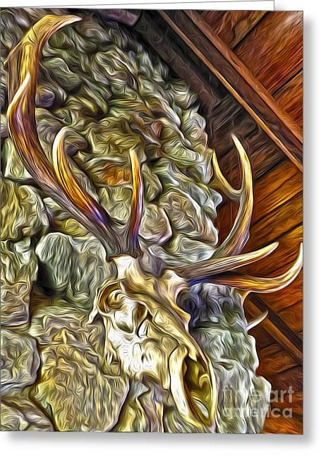 Deer Skull Greeting Card by Gregory Dyer