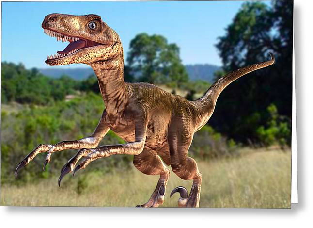 Deinonychus Dinosaur Greeting Card by Roger Harris