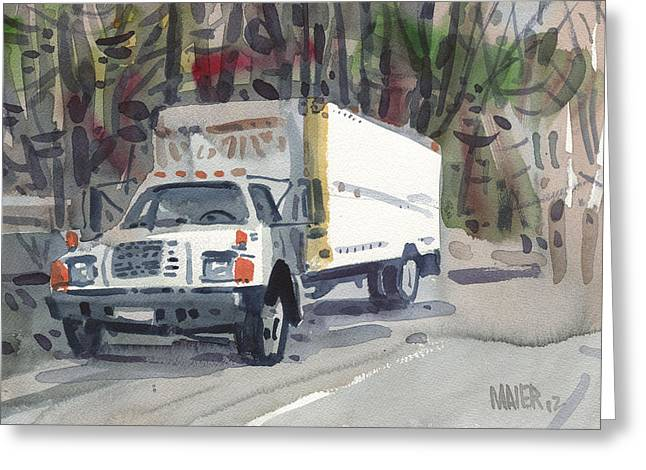 Delivery Truck Two Greeting Card by Donald Maier