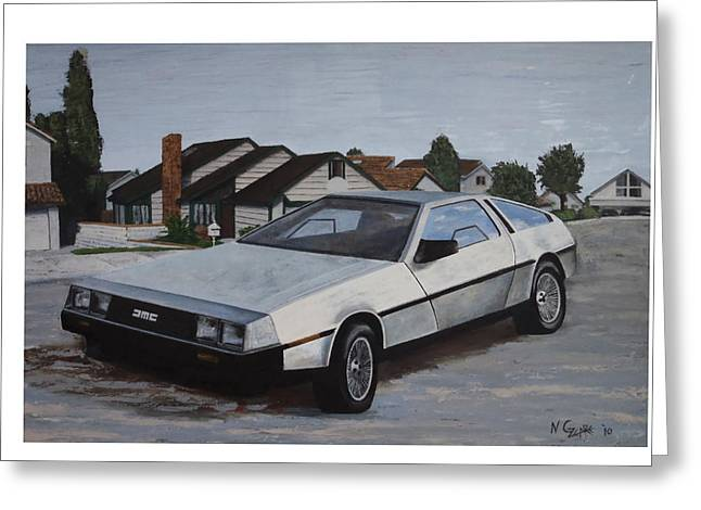 Delorean Greeting Card by Nate Geare