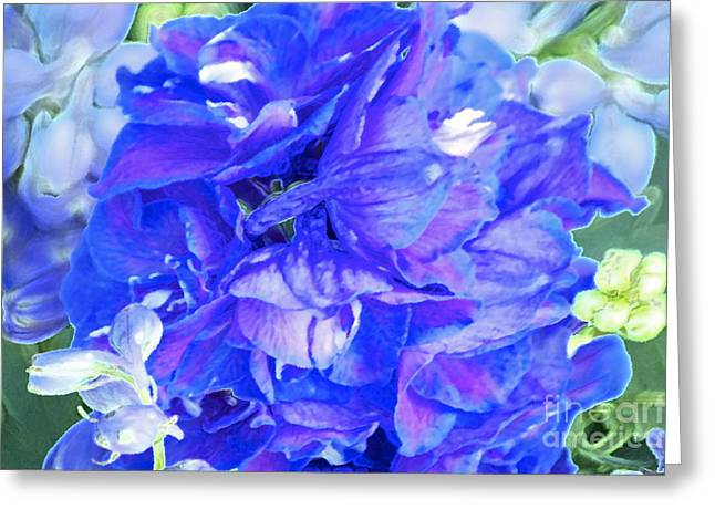 Delphinium Blue Greeting Card by Gwyn Newcombe