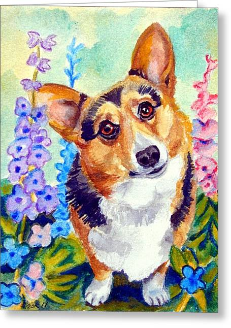 Delphiniums - Pembroke Welsh Corgi Greeting Card by Lyn Cook