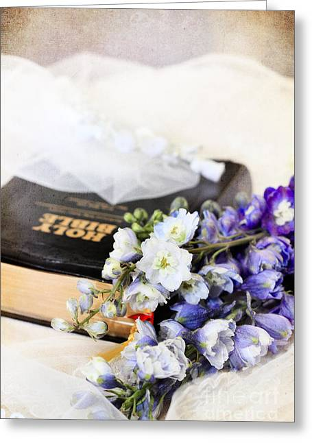 Delphiniums And Bible Greeting Card by Stephanie Frey