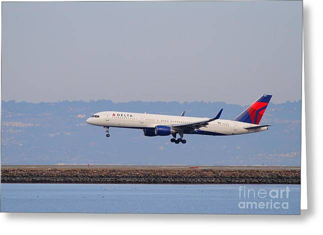 Delta Airlines Jet Airplane At San Francisco International Airport Sfo . 7d12183 Greeting Card by Wingsdomain Art and Photography