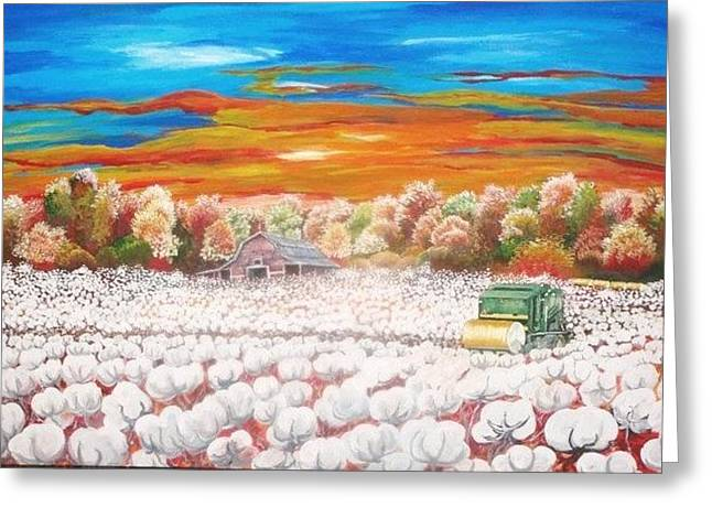 Delta Cotton Fields With Round Bale Cotton Picker Greeting Card by Cecilia Putter