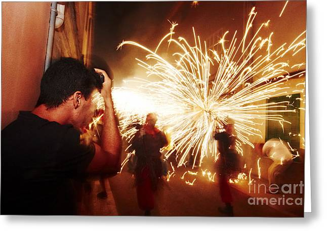 Demons Fire Greeting Card by Agusti Pardo Rossello