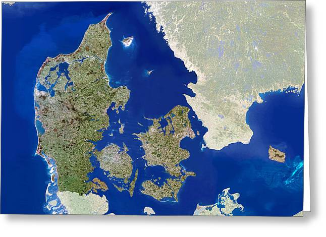 Denmark, Satellite Image Greeting Card