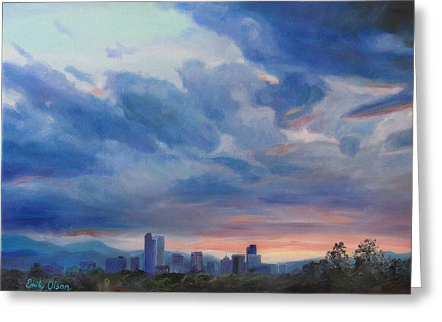 Denver Skyline At Sunset Greeting Card