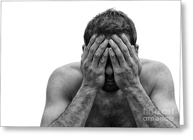 Depressed Man With Hands Over Face Greeting Card by Brian Akamine