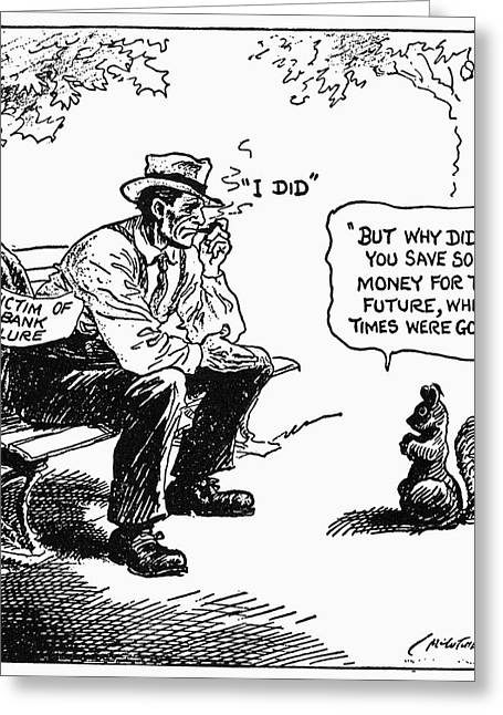 Depression Cartoon 1932 Greeting Card by Granger