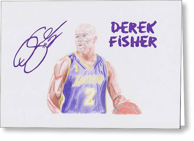 Derek Fisher Greeting Card by Toni Jaso