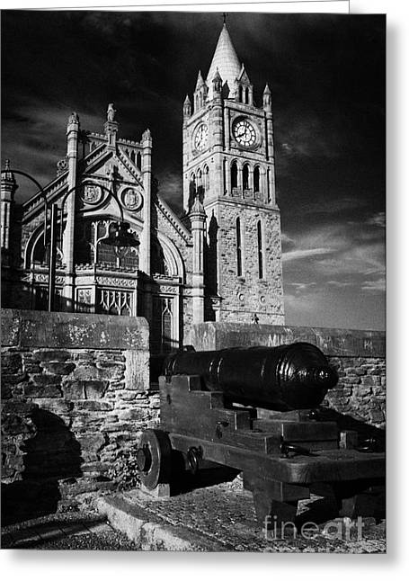 Derrys Walls And Guildhall With Cannon Greeting Card by Joe Fox