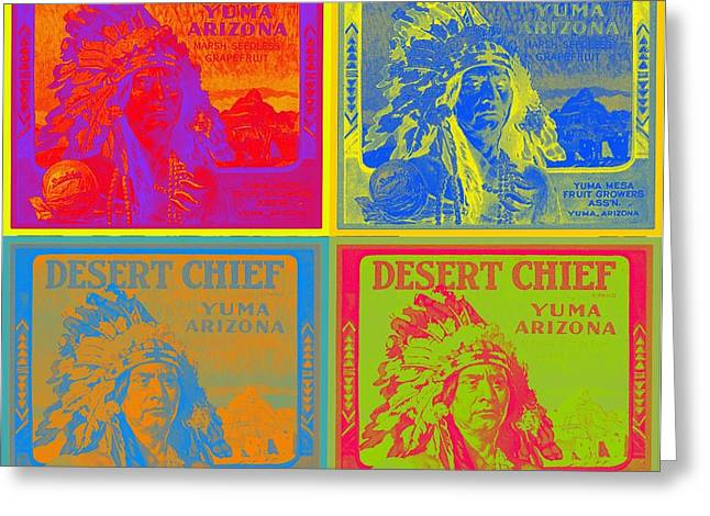 Desert Chief Cigar Box Label Greeting Card by Dwayne  Graham