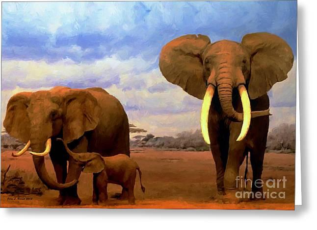 Desert Elephants Greeting Card