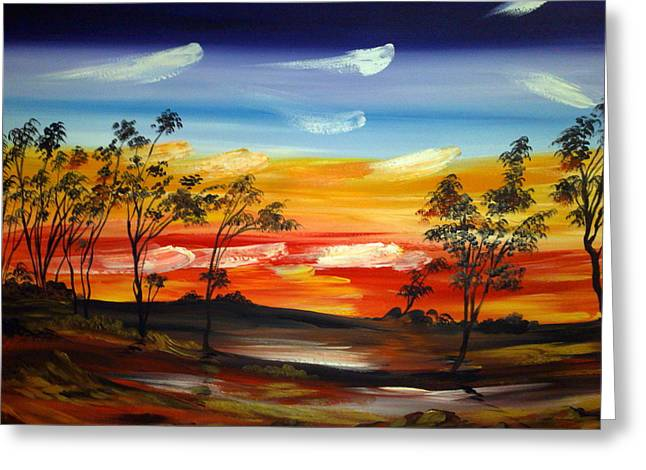 Greeting Card featuring the painting Desert Fire by Roberto Gagliardi