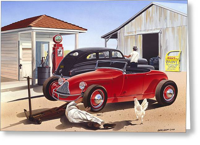Desert Gas Station Greeting Card