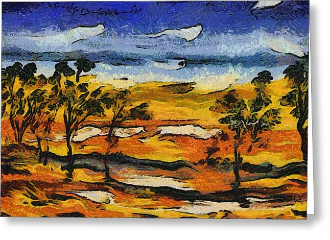 Greeting Card featuring the digital art Desert Homage At Van Gogh by Roberto Gagliardi