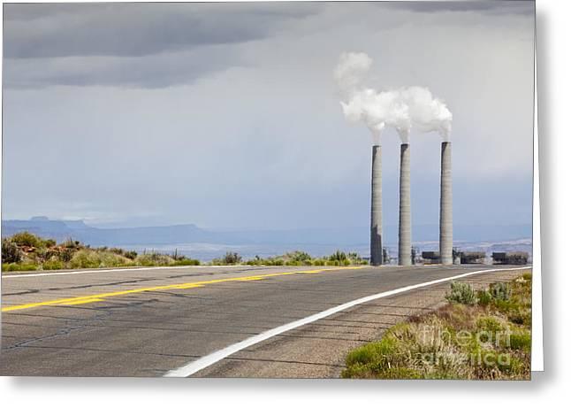 Desert Road Leading Towards Smokestacks Greeting Card by Paul Edmondson