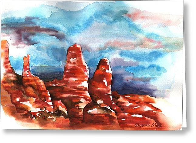 Greeting Card featuring the painting Desert Sentries by Sharon Mick
