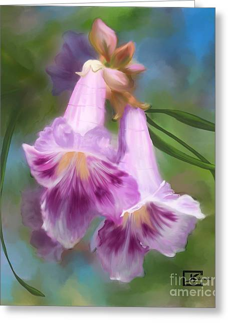Desert Willow Floral Wall Art Greeting Card