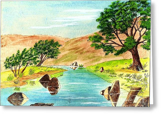 Deserted Desert Stream Greeting Card