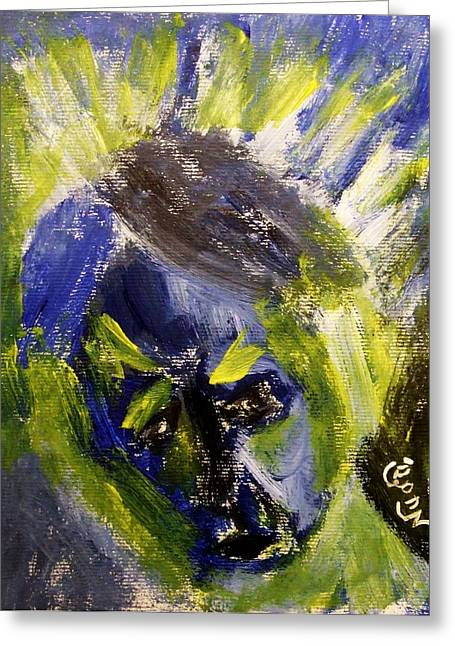 Despondent Expressionistic Portrait Figure In Blue And Yellow Religious Symbols Of Glory Bursting Greeting Card
