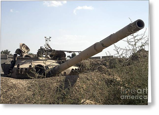 Destroyed Iraqi Tanks Near Camp Slayer Greeting Card by Terry Moore