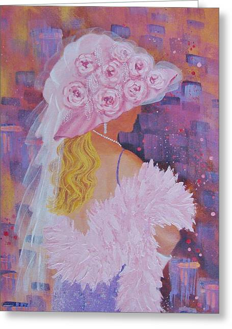 Pink Hat Beauty Greeting Card by Margaret Bobb