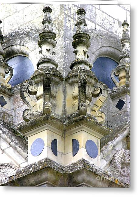 Detail Chambord Castle Greeting Card by Anne Gordon