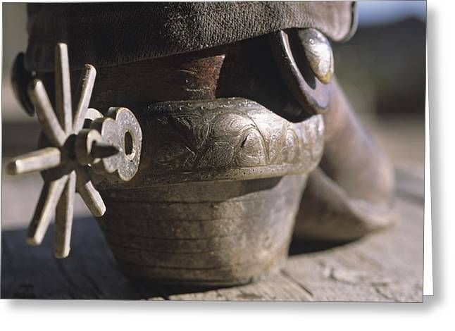 Detail Of A Cowboy Boot With Spur Greeting Card