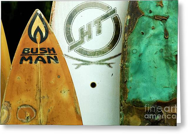 Detail Surfboard Fence Greeting Card by Bob Christopher