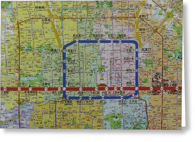 Detail View Of A Beijing Map Showing Greeting Card by Richard Nowitz