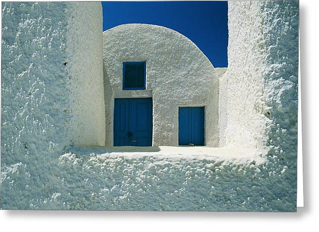 Detail View Of The White Walls And Blue Greeting Card