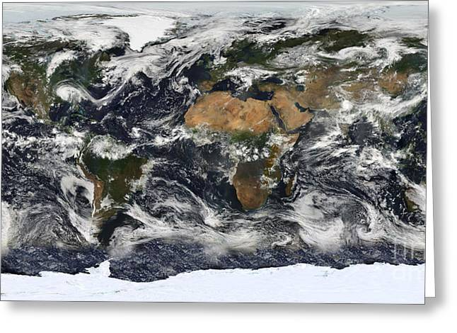 Detailed Satellite View Of Earth Greeting Card by Stocktrek Images