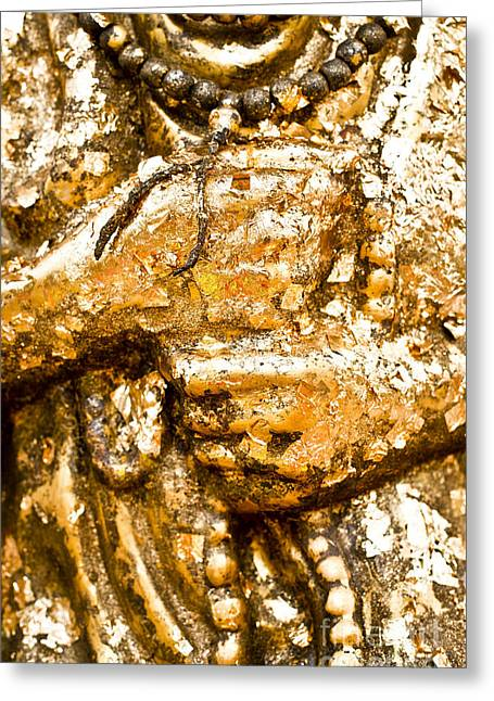 Details Of Golden Buddha Statue Greeting Card by Chavalit Kamolthamanon