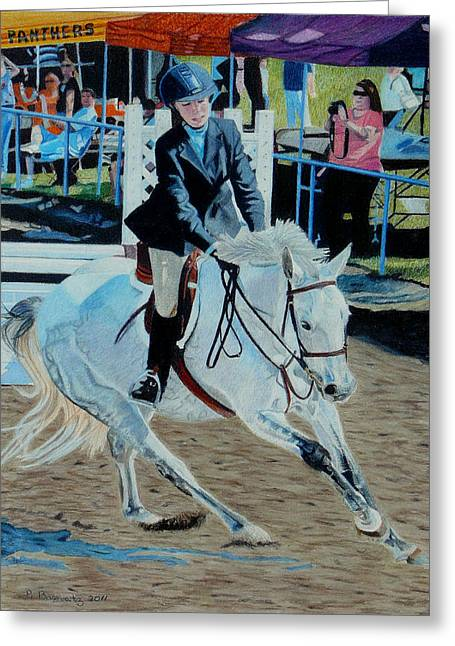 Determination - Horse And Rider - Horseshow Painting Greeting Card