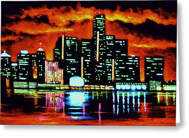 Detroit In Black Light Sold Greeting Card