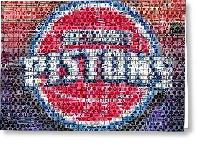 Detroit Pistons Mosaic Greeting Card by Paul Van Scott