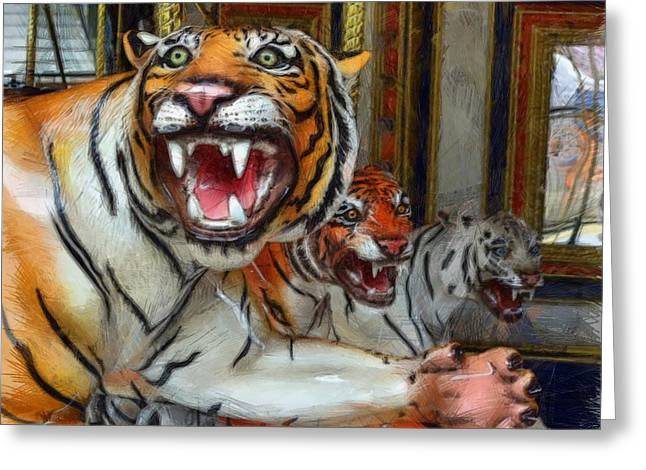 Detroit Tigers Carousel Greeting Card by Michelle Calkins