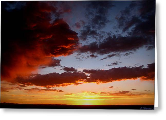 Developing Storm At Sunset Greeting Card by Aaron Burrows