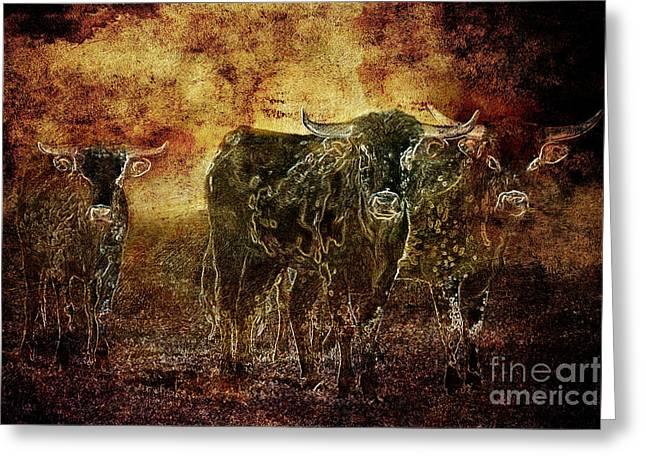 Devil's Herd - Texas Longhorn Cattle Greeting Card by Cindy Singleton