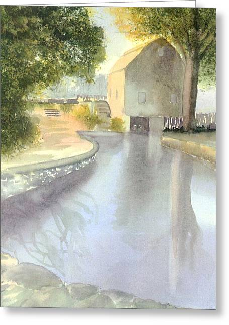 Dexter Grist Mill Reflections Greeting Card by Joseph Gallant