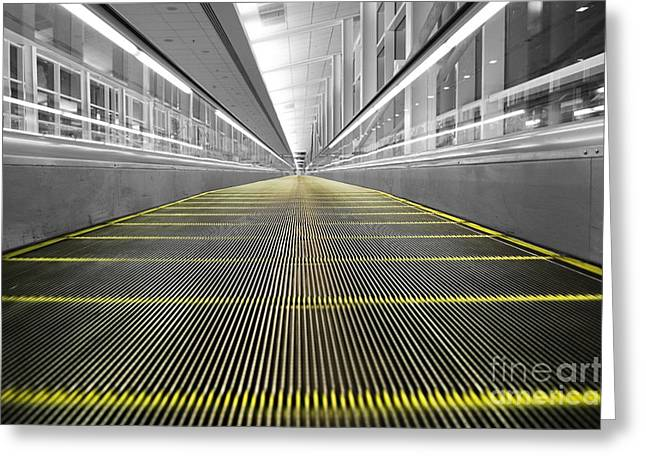 Greeting Card featuring the photograph Dfw Airport Walkway Perspective Color Splash Black And White by Shawn O'Brien