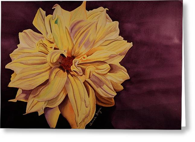 Greeting Card featuring the painting Dhalia by Teresa Beyer