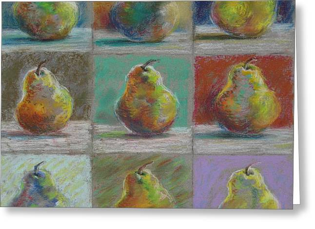 Greeting Card featuring the pastel  Pears by Bonnie Goedecke