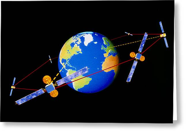 Diagram Of Comms Satellites Linked By Lasers Greeting Card