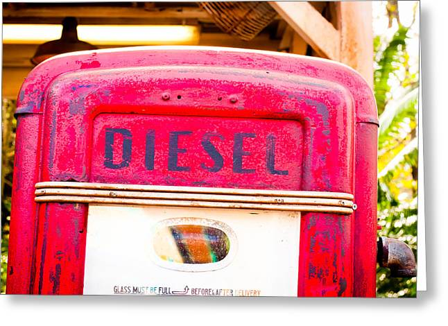 Diesel Pump Greeting Card by Tom Gowanlock